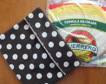 Microwave Magic Pocket, Potato Pocket, Tortilla Warmer, Brown and Cream Polka Dots