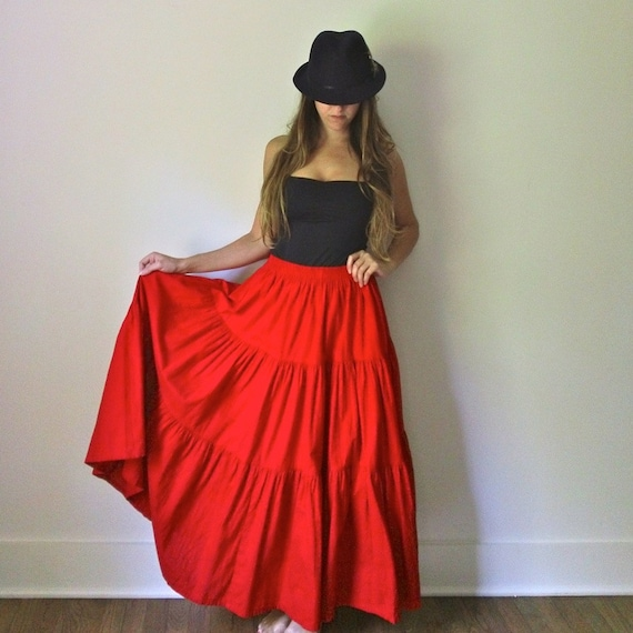 Red long maxi skirt – Modern skirts blog for you