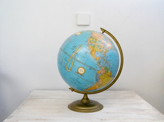 Vintage Globe, Cram's Imperial World Globe with metal base, Mad Men office decoration, Gift for man, mid century home office
