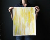 16x20 Abstract Ikat-inspired Painting on Unstretched Canvas. Sunshine Yellow.