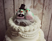 Love Birds Wedding Cake Topper-Green and Pink Bird Wedding Cake Topper-Love Birds