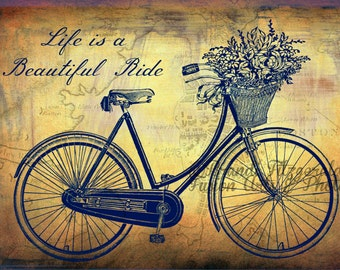 Life is a Beautiful Ride in Boston. Vintage Shabby Chic Boston Bicycle