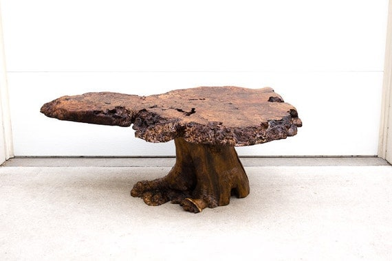 Vintage Mid Century Burl Wood Live Edge Slab Coffee Table