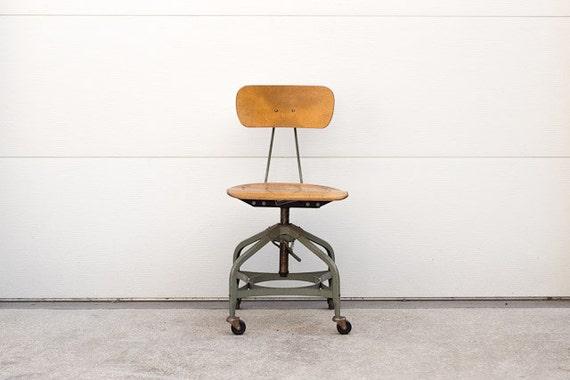 Vintage Industrial Toledo Adjustable Height Rolling Desk Chair