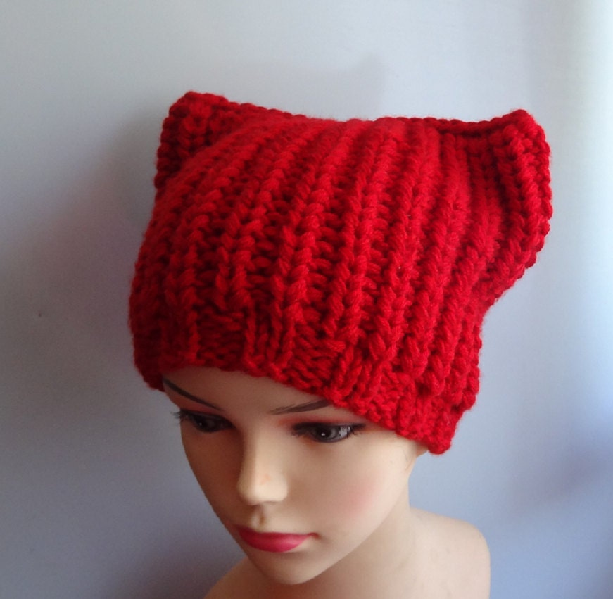 Knitting Pattern For Beanie With Ears : Knit Pussyhat Cat Ears Hat Cat Beanie Chunky Knit Winter ...
