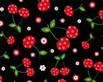 FAT QUARTER ONLY - Polka Dot Cherries on Black From Robert Kaufman