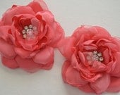 Hair Clip - Coral Hair Flower Clip - Photography Prop, Wedding Hair, Bridesmaids, Bride, Flowergirl, Bridal Party, Special Occassion