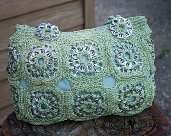 Upcycled Honeydew Green Crochet Pop Tab Purse