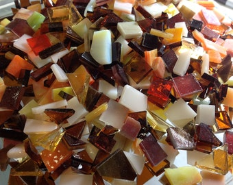 100 FALL COLOR MIX Autumn Mixed Tiles Stained Glass Mosaic B31