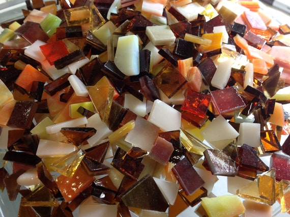 FALL COLOR MIX - Odd Size Autumn Mixed Tiles Stained Glass Mosaic B31