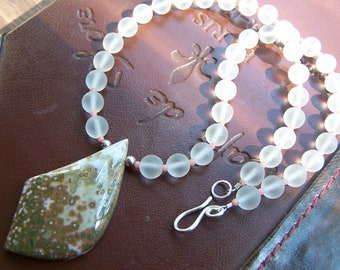 Beautiful Designer Ocean Jasper Pendant with genuine Crystal and Coral necklace