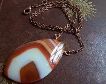 Striking Striped Agate pendant on Copper chain (free shipping)