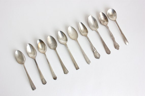 Spoons Set 10 Silver Plate Stainless Teaspoons Jelly