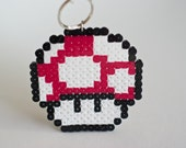 Medium Mario Mushroom Red and White Keychain made with Fuse Beads/Hama Beads
