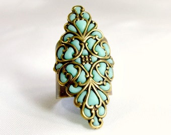 Long ring antique brass jewelry handmade knuckle rings for women unique gifts for her aqua teal gold