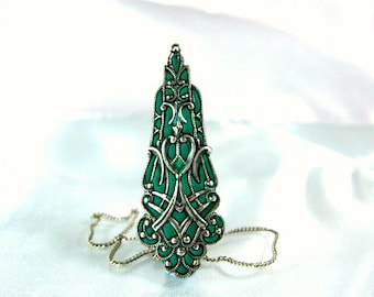 Silver necklace green enamel jewelry filigree victorian vintage like jewelry shops online 2012
