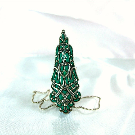 Silver necklace green enamel jewelry filigree victorian vintage like jewelry shops online 2012