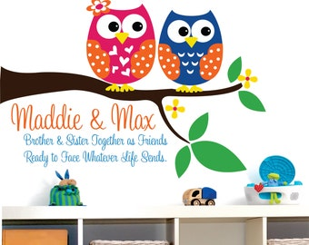 Owl Decor Wall Decal - Childrens Wall Decal Brother and sister Owls - Childrens Decor Owl Vinyl Wall lettering Personalized.