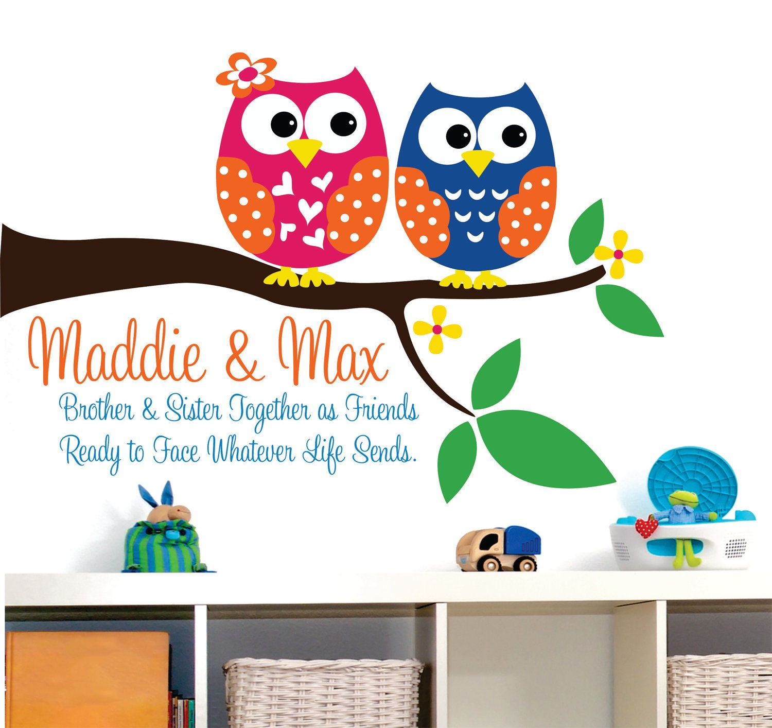 owl decor wall decal childrens wall decal brother and sister. Black Bedroom Furniture Sets. Home Design Ideas
