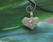 Heart-Shaped Beach Stone Necklace with Jonquil Swarovski Crystal