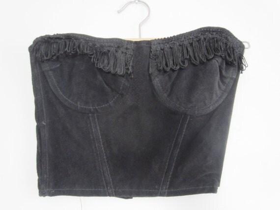 Vintage 90s Black Leather Suede Crop Corset Bustier S