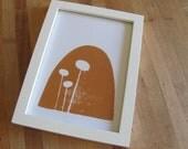 Linoleum Block Print - Orange Mushroom 5 x 7
