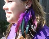 Purple Feather Ear Cuff