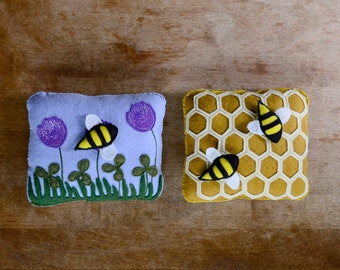 Handmade Montessori Work - Magnetic Wool Felt Bee and Honeycomb Work. Made to Order.