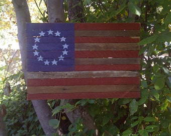 Flag Wood Betsy Ross Americana 13 Star Flag on Reclaimed Laths 2'