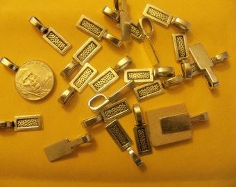 25 Silver Plated Rectangular Glue on Bails SCRABBLE Tile Domino BAILS Lot US Seller 27mm