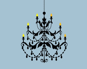 Chandelier vinyl removable wall decal  FREE SHIPPING