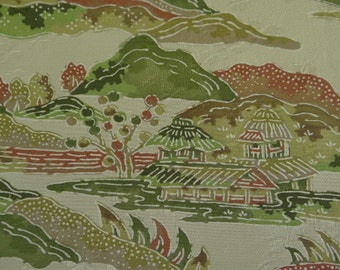 Japanese silk kimono scenery and dwellings in olives and golden browns.