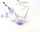 Purple and Lilac Flowers on White Necklace (415) - FREE WORLDWIDE SHIPPING
