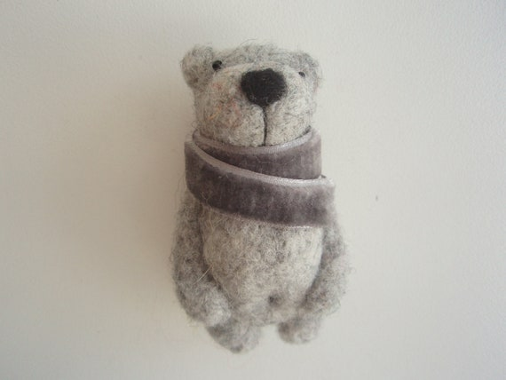 Fresh Price - Needle felted Gray Bear Brooch