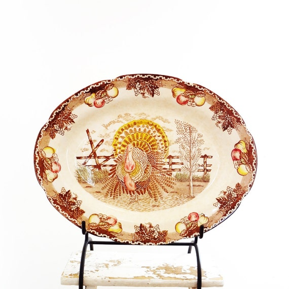 Vintage Ironstone Turkey Platter, American Tradition King Tom