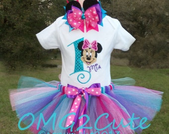 Minnie Mouse Birthday -- Turquoise Tutu Birthday outfit - Photo Prop -- Party outfit --Can be Personalized with any name and BD #