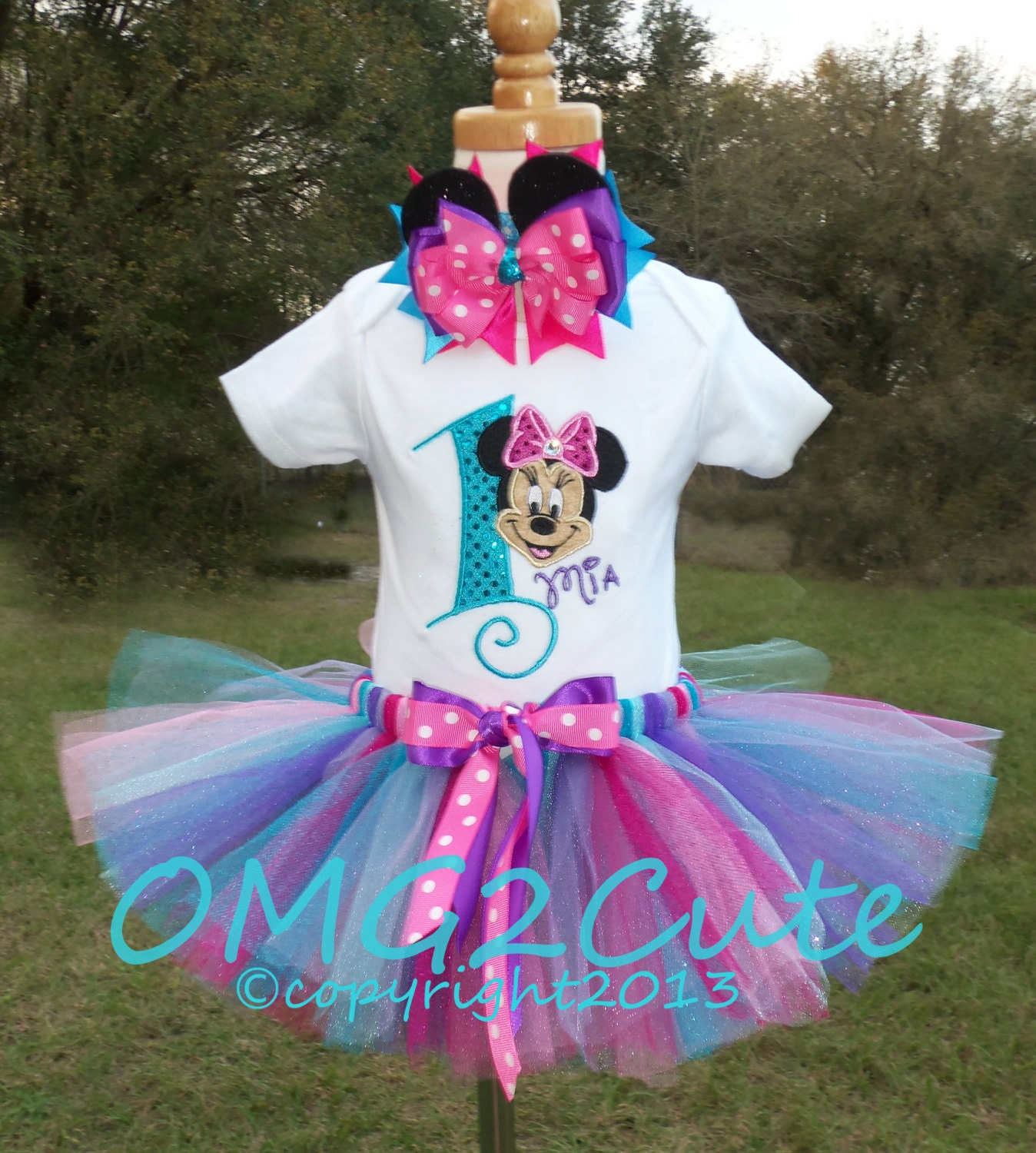 Birthday Party Outfit: Minnie Mouse Birthday Turquoise Tutu Birthday Outfit