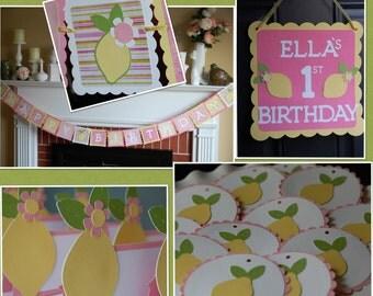 Pink Lemonade Party Package, Happy Birthday Banner, Door Sign, Food Labels, Tags, Pink Lemonade Birthday