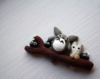 My Neighbor Totoro Necklace - Totoro and Friends on a Branch