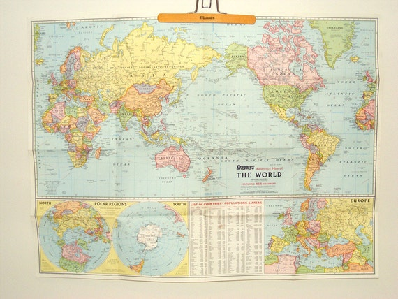 Large VINTAGE 39 World map vintage international map