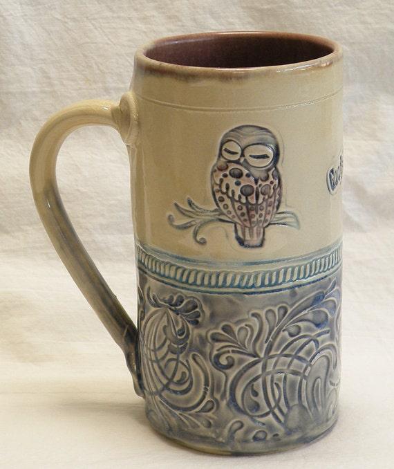 Owl handmade ceramic coffee mug 20oz stoneware 20B019