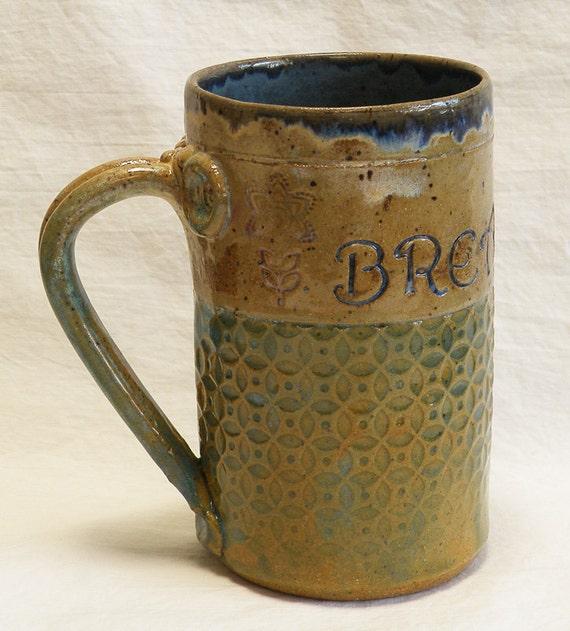 handmade ceramic BREATHE coffee mug 16oz stoneware 16B025