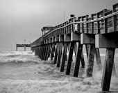 Stormy Weather, Beach, Ocean, Pier, Nautical, Home Decor, Black, Gray, White, 8x10 Print