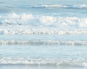 Blue, White, Ocean, Sea, Spa, Waves, Abstract, Home Decor, Fine Art Photograph, 8x10 Print - MissMPhotography