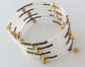 Memory wire bangle / bracelet - brown & white beaded bangle - one of a kind jewelry
