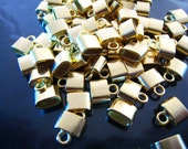 Finding - 6 pcs Gold Leather Cord Ends Small Cap For Round or Flat Leathers 9mm x 8mm x 4mm ( inside 6mm x 3 mm Diameter )