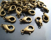 Finding - 10 pcs Antique Brass Solid Mini Lobster Claw  Clasp Closure 12mm x 7mm