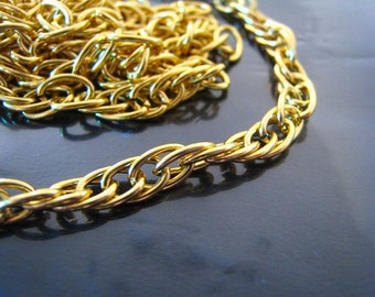Finding - 1 Yard of Gold Chain Fashion Curb Link for making Jewelry Bracelet and Necklace Craft (8m x 5mm width each Oval )