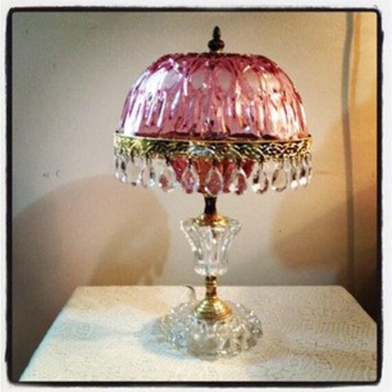 Vintage Pink Glass Lamp