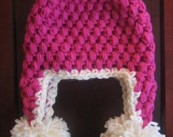Crochet PATTERN - Puff Stitch Earflap Hat - Crochet Hat Pattern - Crochet Patterns Kids - Baby, Toddler, Child, Kids, Adult Sizes - PDF 104